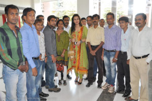 """Veteran bollywood actress Poonam Dhillon cheering up IDMT team on the occasion of """"Junglee Band"""" release."""